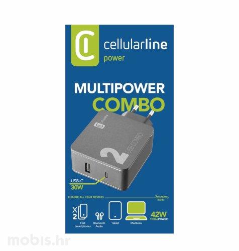 Cellularline adapter za brzo punjenje 42W USB i USB-C: crna