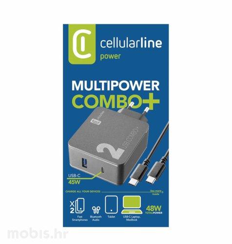 Cellularline adapter USB i USB-C i USB-C kabel: crna