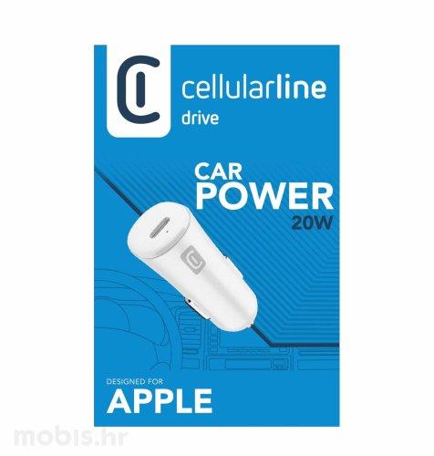 Cellularline auto adapter za iPhone USB-C 20W: bijeli