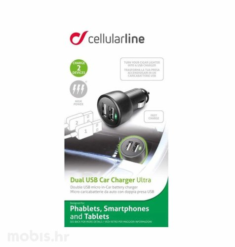 Cellular line auto punjač USB Adapter 3A dual