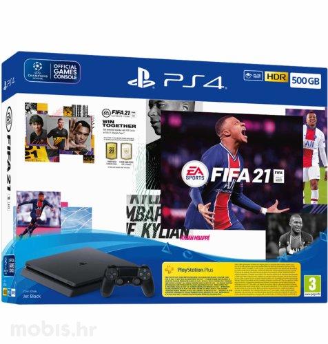 PlayStation 4 500GB F Chassis + FIFA 21 + FUT VCH + PS Plus 14 dana