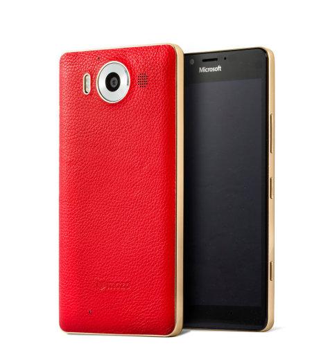 Mozo kožna maska Lumia 950: crveno - zlatna + WLC & NFC