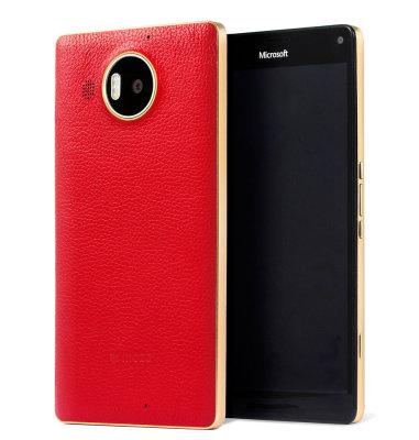 Mozo kožna maska Lumia 950XL: crveno - zlatna + WLC & NFC