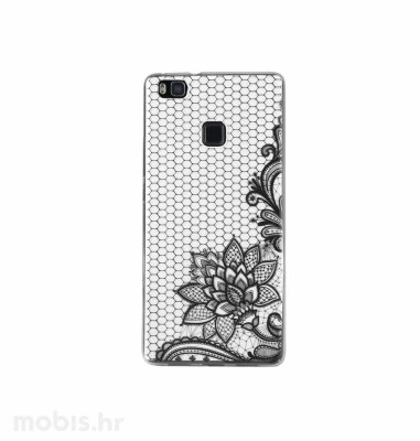 "Zadnje kućište ""Lace"" za Huawei P9 lite flower: crni"