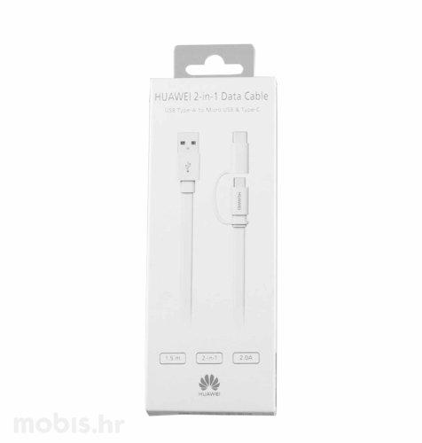Kabel micro USB i tip C: bijeli