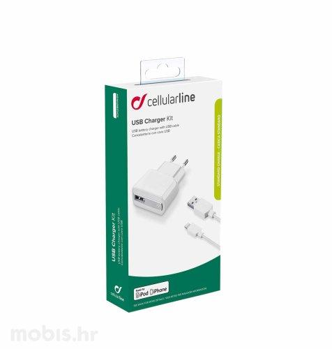 Cellular line kućni punjač za iPhone i MFI kabel 1A
