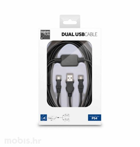 Bigben PS4 Dual Flat USB kabel USB - Micro USB: crni