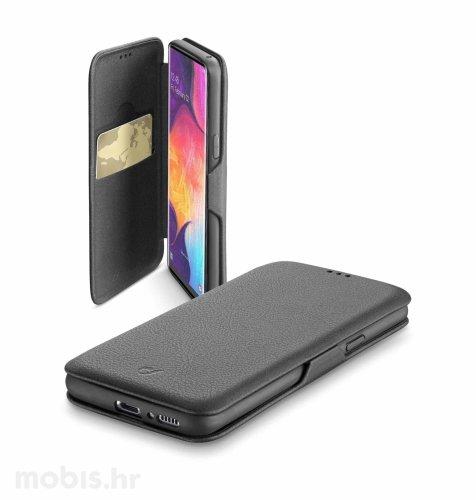 Preklopna kožna maskica za Samsung Galaxy A50: crna