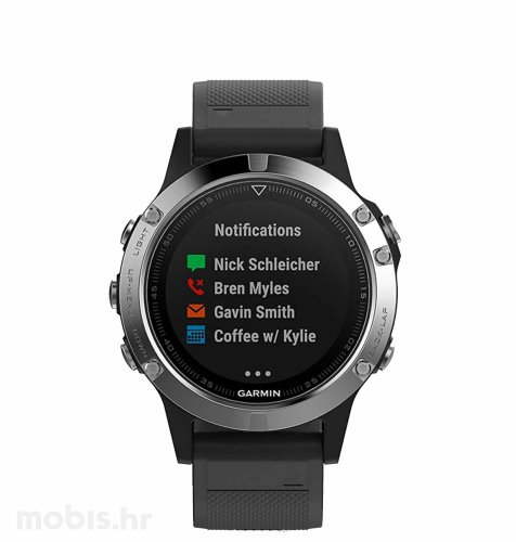 Garmin Fenix 5S Plus: srebrni ( crni remen )