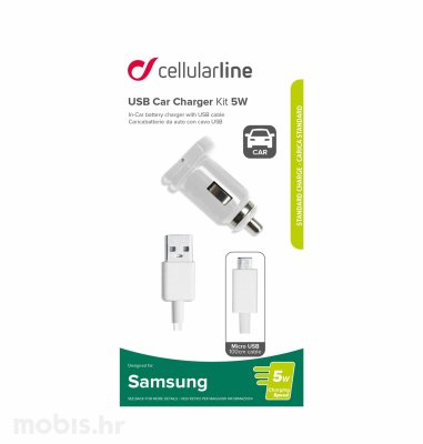 Cellular line auto punjač za Samsung i microusb 1A/5W