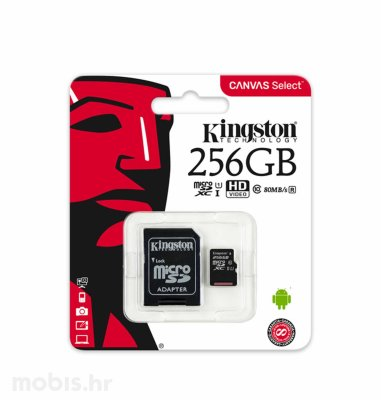 Kingston memorijska SD micro kartica 256GB Class 10 UHS-I + 1AD KIN Canvas