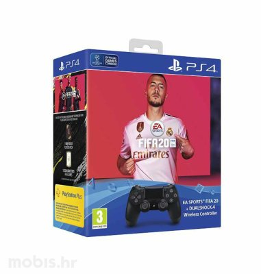 PS4 Dualshock kontroler v2 + FIFA 20 + FUT VCH + PS Plus 14 dana
