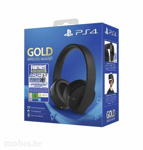 PS4 Wireless Gold Slušalice + Fortnite VCH (2019)