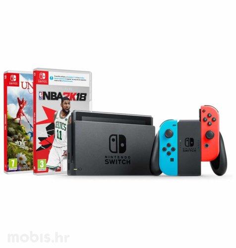 Nintendo Switch Joy-Con Had: crvena i plava + NBA 2K18 + Unravel Two Stich