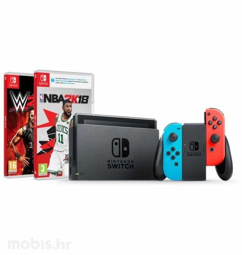 Nintendo Switch Joy-Con Had: crvena i plava + NBA 2K18 + WWE 2K18 Switch
