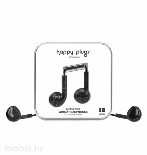 Happy Plugs Earbud Plus slušalice: crno mramorne