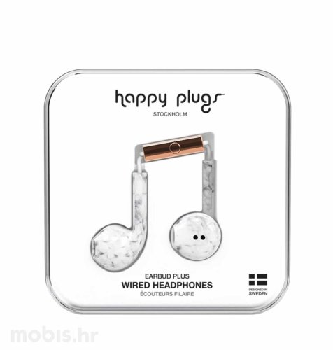 Happy Plugs Earbud Plus slušalice: mramorno bijele