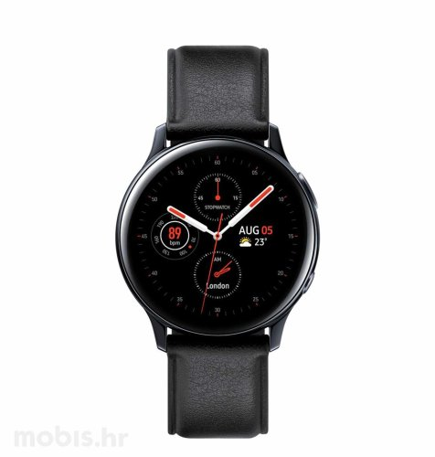 Samsung Galaxy Watch Active 2 (R820): crni kožni remen