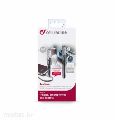 Cellular line AUX music kabel 3.5mm 1m: crni
