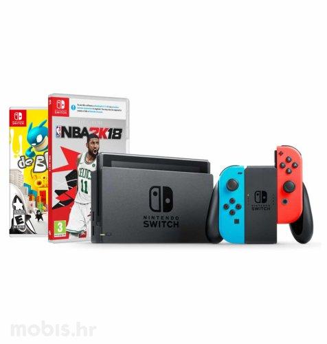 Nintendo Switch Joy-Con Had: crvena i plava + NBA 2K18 + De Blob Switch