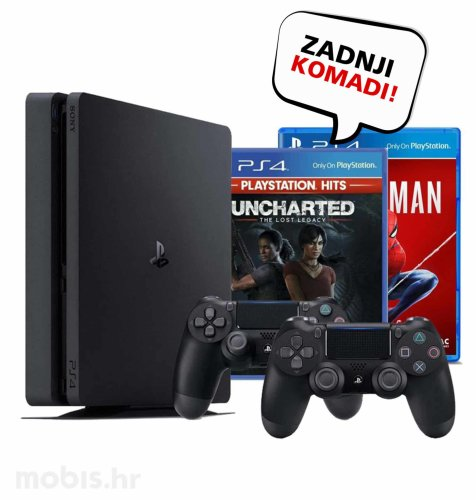 Playstation 4 Pro 1TB + Dualshock Kontroler + Uncharted: The Lost Legacy Hits + Marvel Spiderman