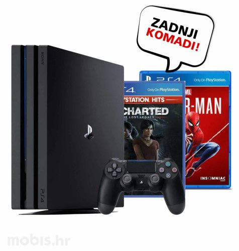 Playstation 4 Pro 1TB + Uncharted: The Lost Legacy Hits + Marvel Spiderman