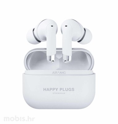 Happy Plugs Air1 Plus ANC bežične slušalice: bijele