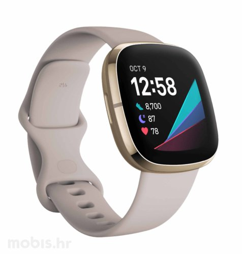 Fitbit Sense pametni sat: bijelo-zlatni + Verso BTE-19 Mini