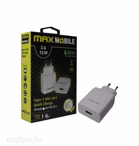 Max Mobile kućni punjač set 2u1 QC 3.0 Quick Charge USB + tip C, 3A,15W: bijeli