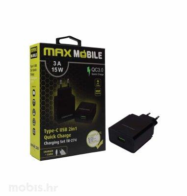 Max Mobile kućni punjač set 2u1 QC 3.0 Quick Charge USB + tip C, 3A,15W: crni