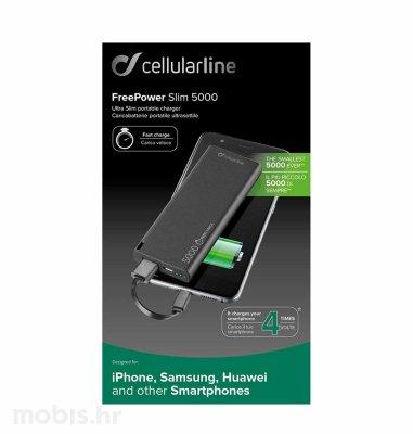 Cellularline Powerbank Free Power Slim 5000 mAh: crni