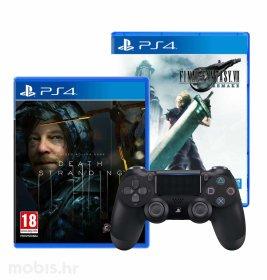 Final Fantasy VII HD Remake & Death Stranding igre za PS4 + gratis PS4 DualShock kontroler v2
