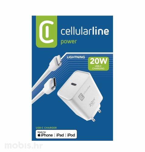 Cellularline punjač i kabel za Apple 20W: bijeli