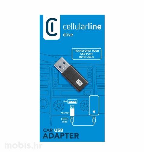 Cellularline auto adapter USB – USB-C: crni